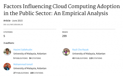 Factors Influencing Cloud Computing Adoption in the Public Sector: An Empirical Analysis